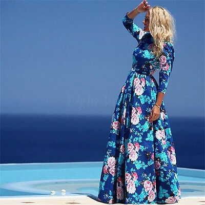 Hot Women's Vintage Floral Chiffon Long Sleeve Maxi Party Cocktail Prom Dress