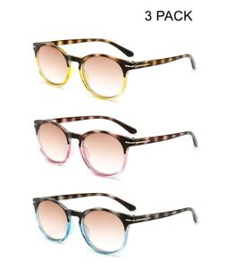 7a521ec3ffe Image is loading 3-PACK-Round-Tinted-Reading-Glasses-Sunglasses-Readers-