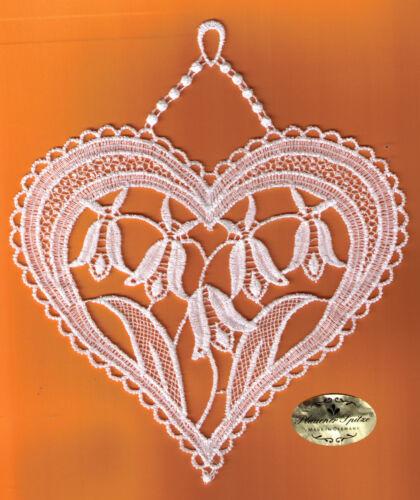 Fensterbild weiß Plauener Spitze ® 3190G Herz Blume Fensterschmuck Stickperle