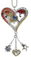 Heart Color Art Ganz Car Charm W/ Dangle Charms & Chain For Rearview Mirror