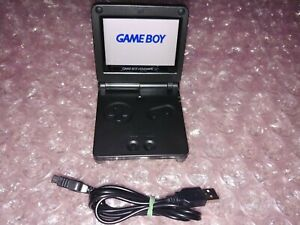 Nintendo-Gameboy-Advance-GBA-SP-All-Black-IPS-V2-w-10-Levels-of-Adj-Brightness
