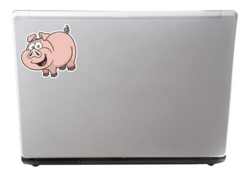 2 x Happy Pig Vinyl Sticker iPad Laptop Car Helmet Guitar Animal Farm Kids #4445