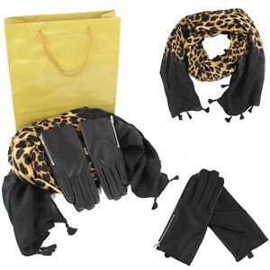 Echarpe-Imprime-Leopard-pi-Gants-Noir-N-ud-Femme-Pochette-Cadeau-Noel-Veque