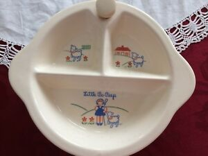 Baby Excello Porcelain Little Bo Peep 3 Part Baby Food Warming Dish Bottle & Food Warmers