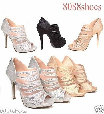 Women's Sexy Lace Glitter Open Toe Zipper Evening High Heel Shoes Size 6 -10 NEW