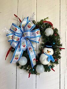 Corona De Navidad Hecha A Mano Muñeco De Nieve Corona Corona Navidad Corona De Invierno Ebay