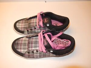 99c660356eed98 NEW Pink Black Grey Plaid Authentic Vans Skyla Womens Skater Trainer ...
