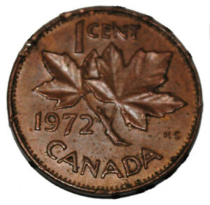 Details about Canada 1972 1 Cent Copper One Canadian Penny Coin