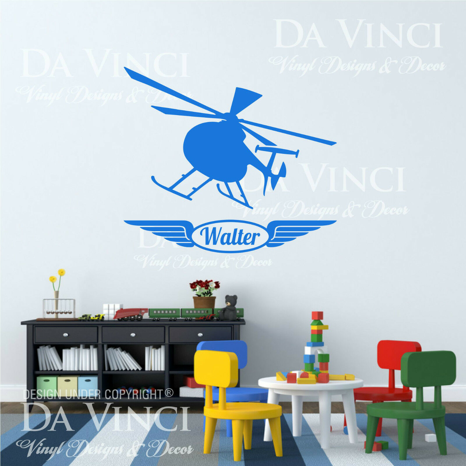 Helicopter Airplane Planes Wall Room Custom Name Vinyl Wall Decal Sticker Decor