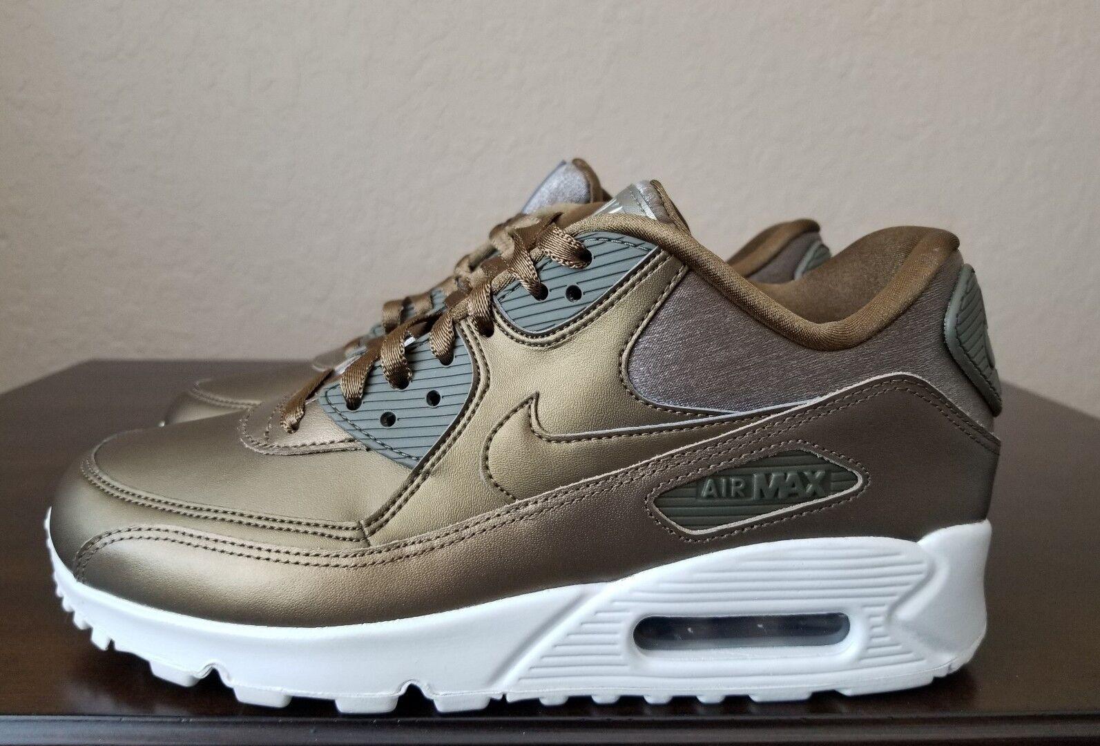 ��NEW Nike Air Max 90 Premium Running Shoes 896497-902 Metallic Womens Size 8