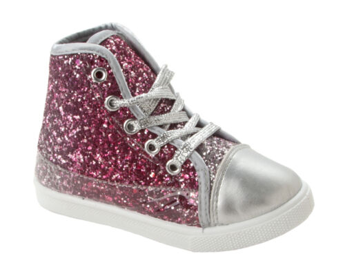 GIRLS PINK GLITTER LACE UP ANKLE HI TOP BOOTS TRAINERS SHOES KIDS UK SIZE 7-1