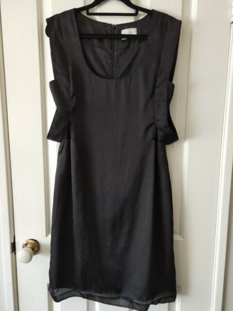 Review Black Pleated Formal Silk Pencil Dress - Size 12