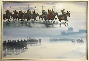 Consciencieux Jean Torton Dit Jeronaton Les Cavaliers Mongols Les Huns Gouache Paint Horsemen