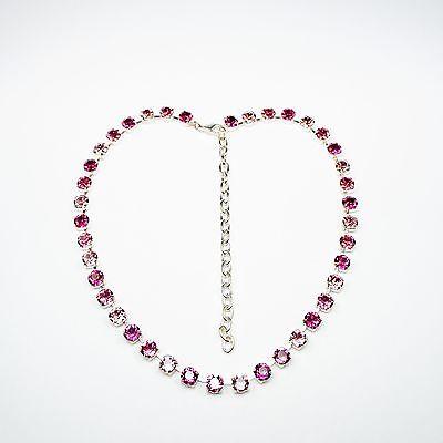 Damen Kette Collier Tennis 925 Silber Versilbert Swarovski Kristalle Pink Rosa c