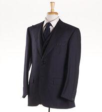 NWT Custom $5695 OXXFORD HIGHEST QUALITY 3-Piece Navy Stripe Wool Suit 40 R
