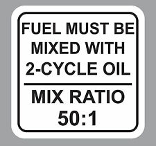50:1 White 2-Cycle Oil Fuel Mix Ratio Sticker Decal Chain Saw Weed Trimmer
