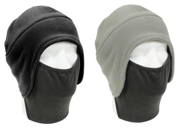 Convertible Winter Cap Hat w/ Facemask Black Fleece Cold Head & Face Mask Warmer