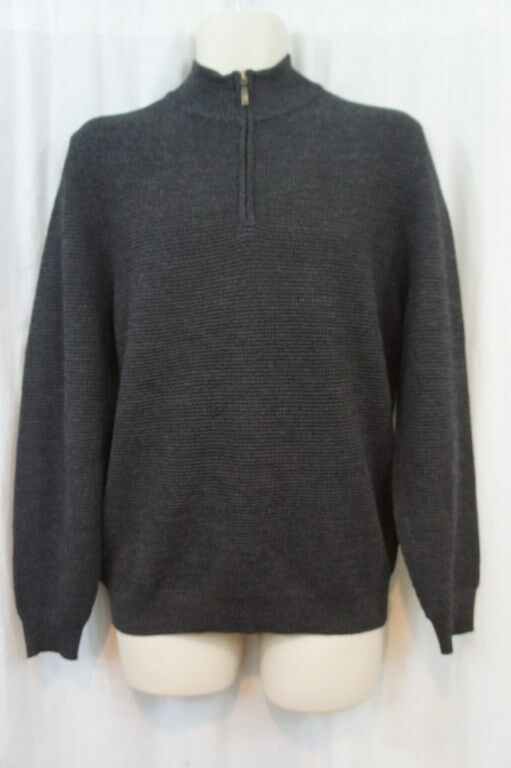 Club Room  Herren Sweater Sz S grau Solid Merino Wool Blend Half Zip Casual Sweater