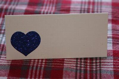 10 Avorio Nome Segnaposto Con Scheda Royal Blu Glitter Cuore-