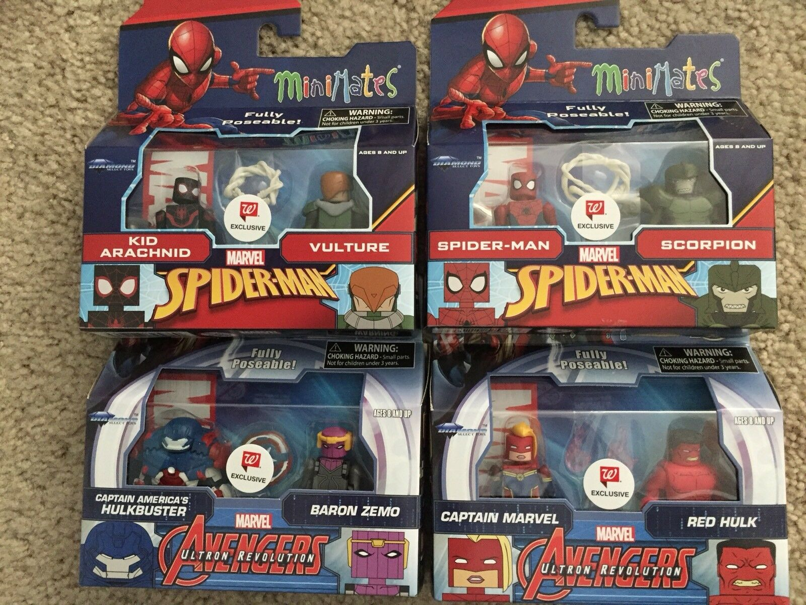 Marvel Minimates Walgreens Series 7 Complete Zemo Arachnid Red Red Red Hulk Vulture Ms 5fc5dc