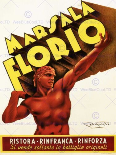 ADVERT MARSALA WINE FLORIO SICILY ITALY DRINK POSTER ART PRINT PICTURE BB1898B