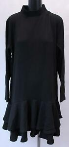 Boohoo-Curve-Women-039-s-High-Neck-Ruffle-Shift-Dress-KB8-Black-Size-US-18-UK-22