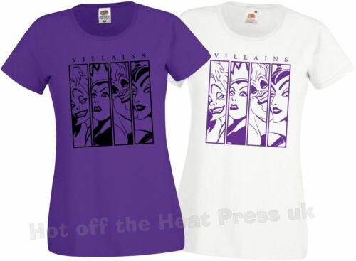 Disney Inspired Villain Design t shirt ladyfit Purple//white FOTL size 6 to 16