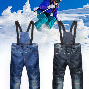 Men-039-s-Ski-Snow-Pants-Denim-Thick-Warm-Waterproof-Outdoor-Snowboard-Jeans-JCAU