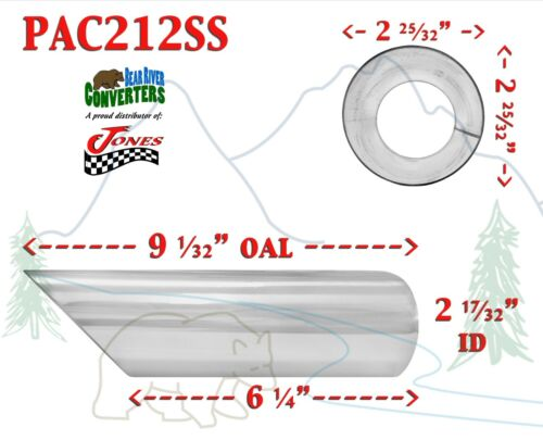 """9/"""" Long PAC212SS 2.5/"""" Stainless Angle Cut Exhaust Tip 2 1//2/"""" Inlet 3/"""" Outlet"""