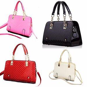 Designer-Faux-Patent-Leather-Large-Style-Tote-Shoulder-Handbag-Satchel-Vincenza