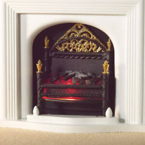 1:12 Dolls House Lit Fire Basket with Ornate Detailing