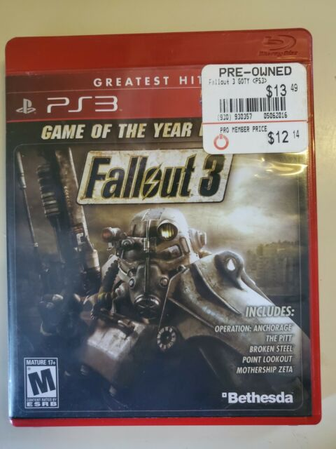 FALLOUT 3 PS3 CASE PLAYSTATION GAME GAME OF THE YEAR GREATEST HITS MATURE AUDIEN
