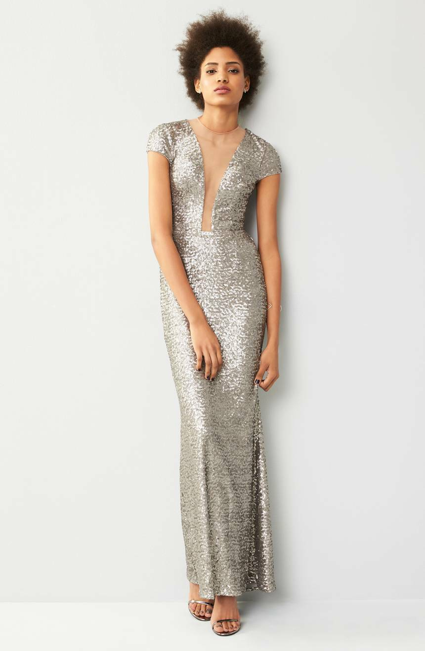 NWT Dress the Population Michelle Sequin Gown in in in Platinum [SZ Medium ]  F325 ce6fed