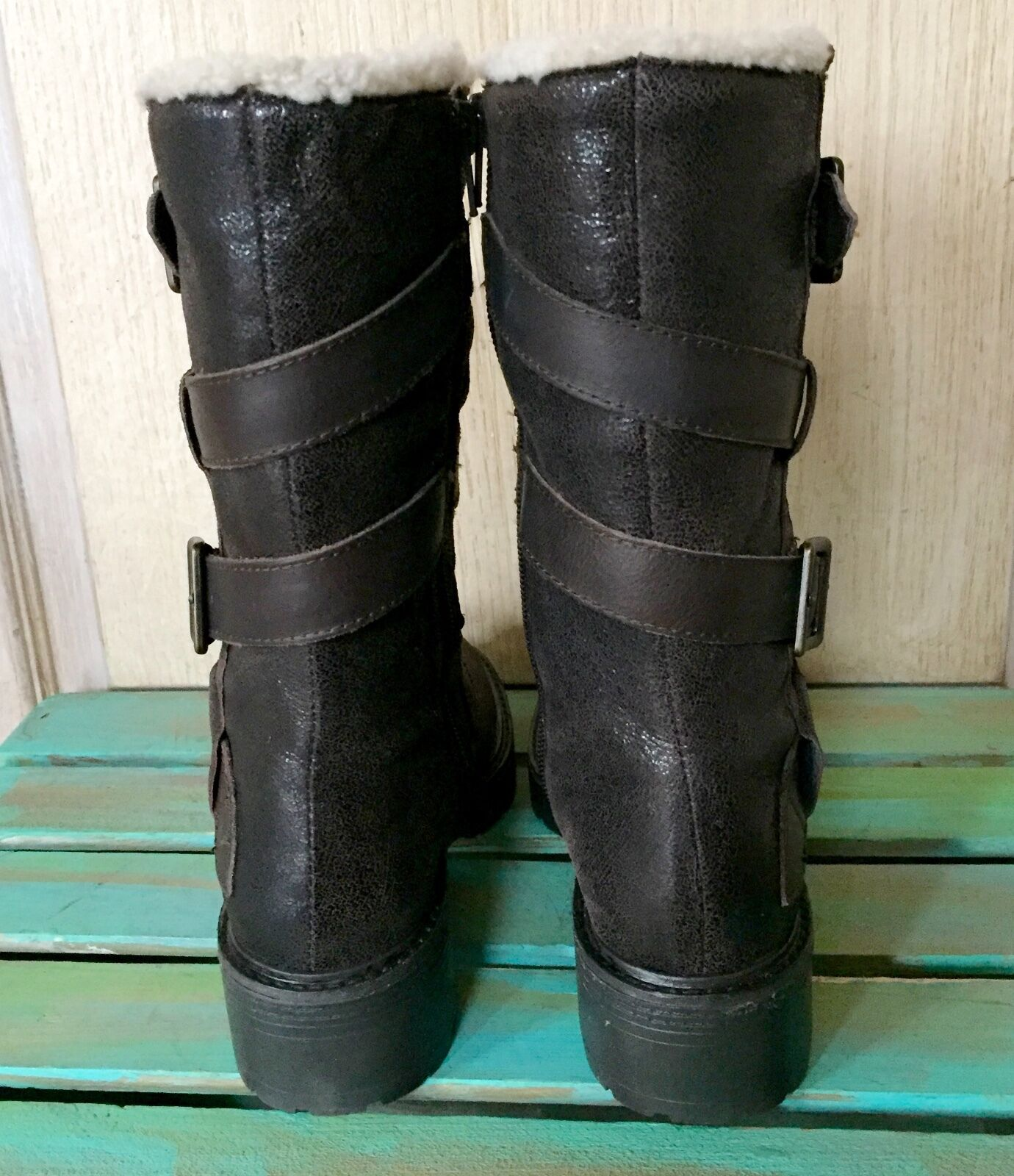 NIB Anthropologie Kelsi Dagger Braun Faux Metallic Suede Faux Braun Fur Buckle Moto Stiefel 6 7c5cfe