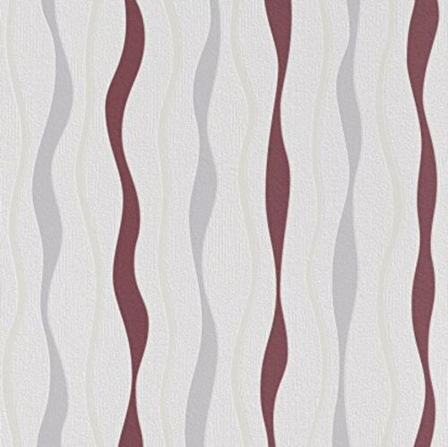 Rasch Red White Cream Grey Wavy Lines Waves Non Woven Textured Wallpaper 415421