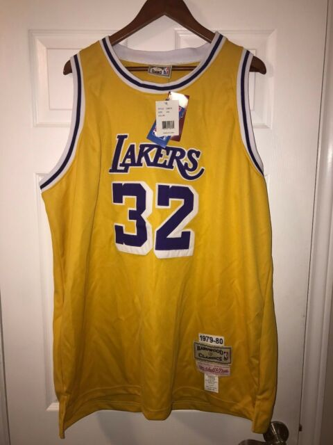 Authentic NBA Hardwood Classics Jersey LA Lakers  32 Magic Johnson  Mitchell Ness 2efe0c74b