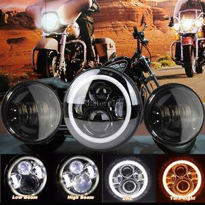 7-034-LED-moto-Feu-Avant-Phare-headlight4-5-034-anti-brouillard-Passing-Feux-Pour-Harley