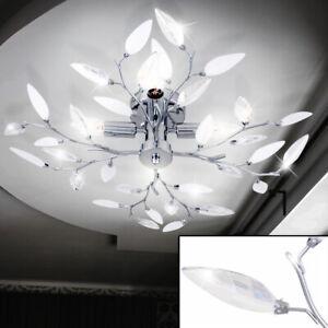 Decken Leuchte Wohn Zimmer Chrom Beleuchtung Deko Kristall Glas Lampe satiniert