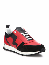 NEW FENDI ZIG-ZAG BOLT RUNNER RED Suede Paneled SNEAKERS SHOES 10UK/US11