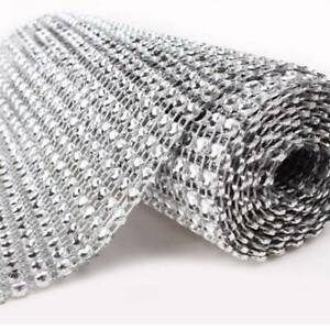 Fashion-Silver-Wedding-Bridal-Wrap-1-Roll-Sparkle-Wrap-Bouquet-Mesh-Ribbon