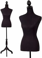 New Listingfemale Mannequin Torso Dress Form With Black Tripod Stand Shop Display Clothing