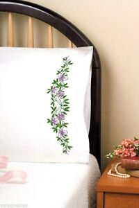 Tobin-Stamped-Embroidery-kit-20-034-x-30-034-Pillowcases-FLORAL-VINE-232110-Sale