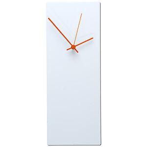 Details About Minimalist Wall Clock Contemporary White Decor Modern Metal Clocks Orange Hands