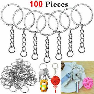 100pcs-Silver-Keyring-Blanks-Tone-Key-chains-Key-Split-Rings-4-Link-Chain-55mm