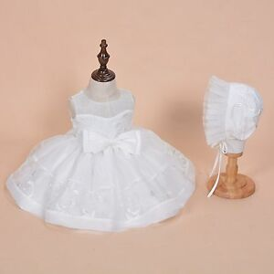 Cinda-bebe-filles-ivoire-dentelle-fete-robe-bapteme-avec-Bonnet-9-12-mois