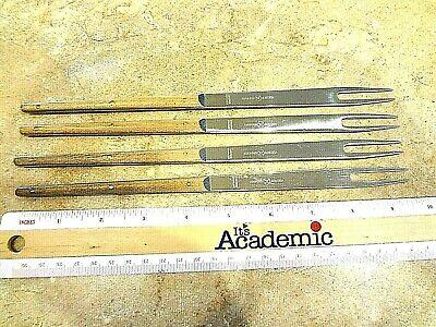 4 Carl Aub\u00f6ck  Stainless Steel Rosewood  Original Box  Mid Century Modern Design Vintage Amboss Austria Fondue Fork Set Four