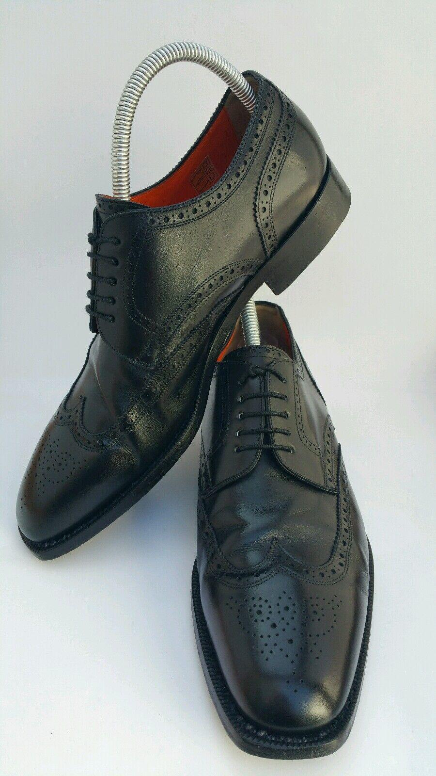 SANTONI para Hombre de Cuero Negro Brogue punta del ala Oxford Zapatos 5403 US 11,