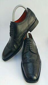 SANTONI Mens Black Leather Brogue Wingtip Oxfords Shoes 5403 US 11 UK 10