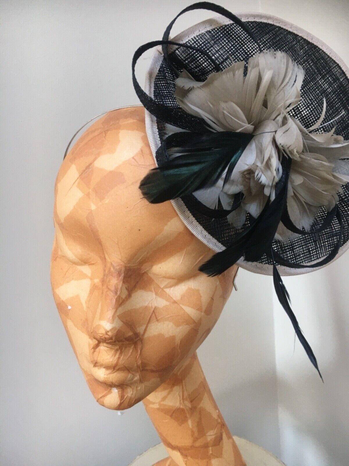 WOMENS FASCINATOR HAT JACQUES VERT Black Cream MOCHA Feather HeadPiece BAND DISC