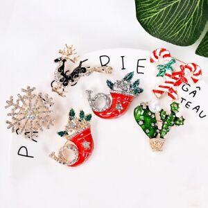Mode-Kristall-Strass-Brosche-Weihnachten-Hut-Weihnachtsstab-Pin-Party-Schmuck